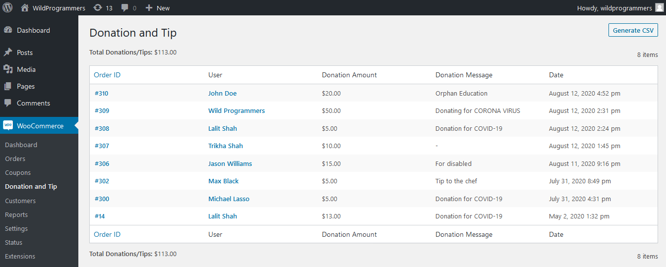 WooCommerce Donation & Tip - Report Page