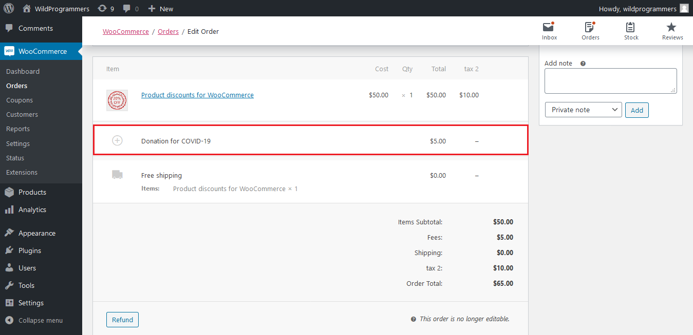 WooCommerce Donation & Tip - Order Edit Page